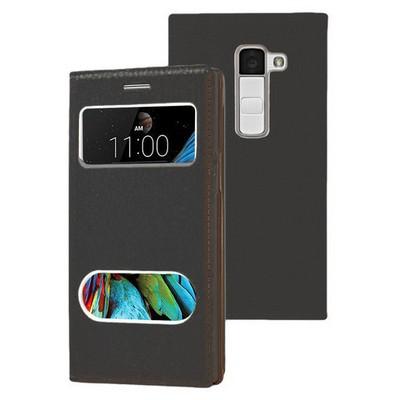 Microsonic Lg K8 Kılıf Dual View Gizli Mıknatıslı Siyah Cep Telefonu Kılıfı