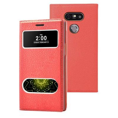 Microsonic Lg G5 Kılıf Dual View Gizli Mıknatıslı Kırmızı Cep Telefonu Kılıfı