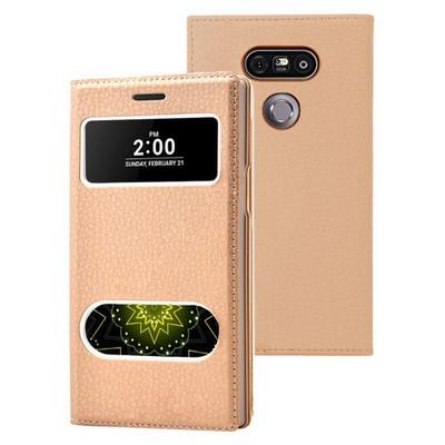 Microsonic Lg G5 Kılıf Dual View Gizli Mıknatıslı Gold Cep Telefonu Kılıfı