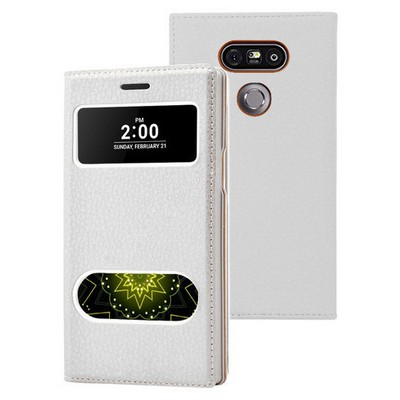 Microsonic Lg G5 Kılıf Dual View Gizli Mıknatıslı Beyaz Cep Telefonu Kılıfı