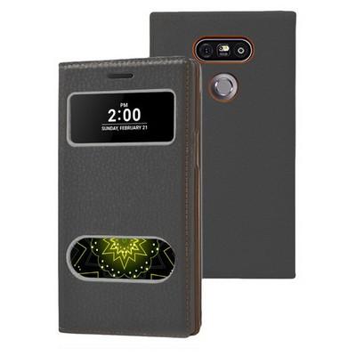 Microsonic Lg G5 Kılıf Dual View Gizli Mıknatıslı Siyah Cep Telefonu Kılıfı
