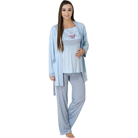 Meyra Lohusa 3'lü Pijama Takım Mavi S Gecelik & Pijama