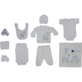 Bebitof 721 Bisikletli Ayıcıklar 10 Lu Bebek Zıbın Seti Mavi 0-3 Ay (56-62 Cm) Erkek Bebek Hastane Çıkışı