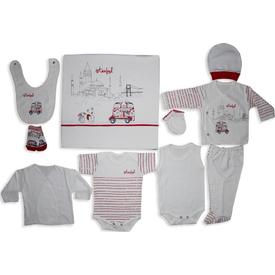 Bebitof Bbtf-773 Istanbul 10 Lu Bebek Zıbın Seti Kırmızı Erkek Bebek Hastane Çıkışı