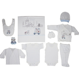 Bebitof Bbtf-773 Istanbul 10 Lu Bebek Zıbın Seti Mavi Erkek Bebek Hastane Çıkışı