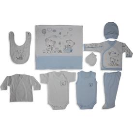 Bebitof Bbtf-779 Çay Partisi 10 Lu Bebek Zıbın Seti Mavi Erkek Bebek Hastane Çıkışı