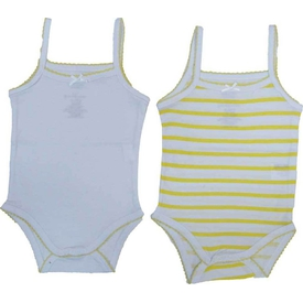 Zeyland K-61h2404 Kız Bebek Ikili Atlet Body Beyaz-çizgili 0-3 Ay (56-62 Cm) Erkek Bebek Body