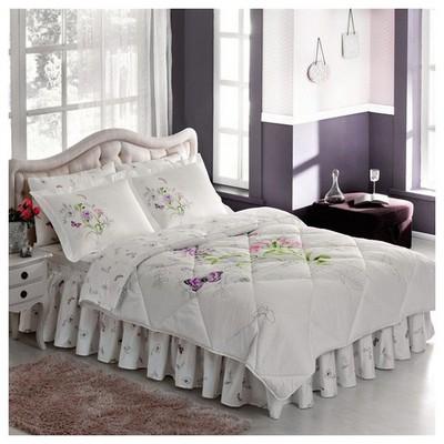 Taç Nicole Çift Kişilik Saten Uyku Seti - Lila Uyku Setleri
