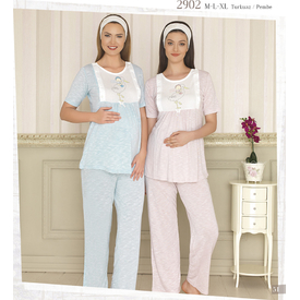 Haluk Baha Emzirme Lohusa Pijama Takım Pembe Xl Gecelik & Pijama
