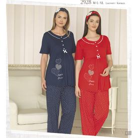 Haluk Baha Kırmızı M Hamile Takım Pijama Gecelik & Pijama