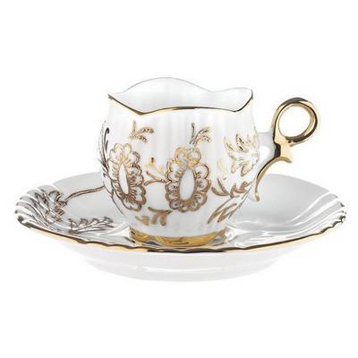 Kütahya Porselen Aizonai Kahve Fincanı Tabaklı Altınlı Çay Seti