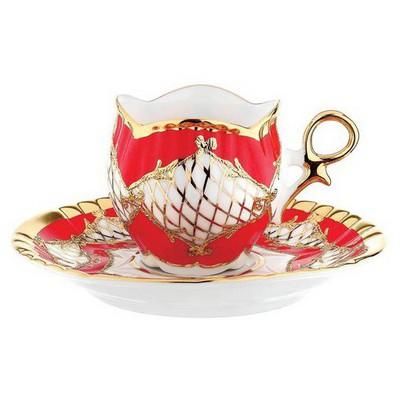 Kütahya Porselen Aizonai Kahve Fincanı Tabaklı Kırmızı Çay Seti