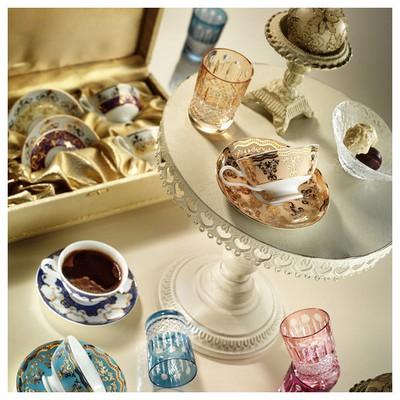 Arte Bianco Kütahya Porselen Armin Kahve Takımı Sarı Çay Seti