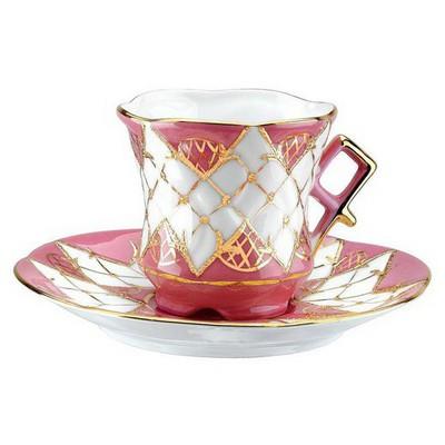 Kütahya Porselen Sarmaşık Kahve Fincanı Tabaklı Pembe Çay Seti