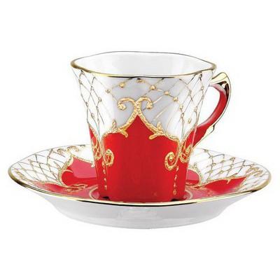 Kütahya Porselen Kavuk Kahve Fincanı Tabaklı Kırmızı Çay Seti