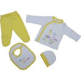 Zeyland K-61h2400 Bebek Zıbın Takım 4 Lü Sarı 0-3 Ay (56-62 Cm) Erkek Bebek Body