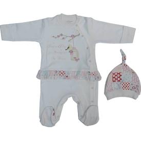 Aziz Bebe 6332 Kız Bebek Tulum Ekru 3-6 Ay (62-68 Cm) Bebek Tulumu