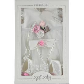 Pugi Baby 1008 Kız Bebek Mevlüt Takımı Ekru 0-3 Ay (56-62 Cm) Kız Bebek Hastane Çıkışı
