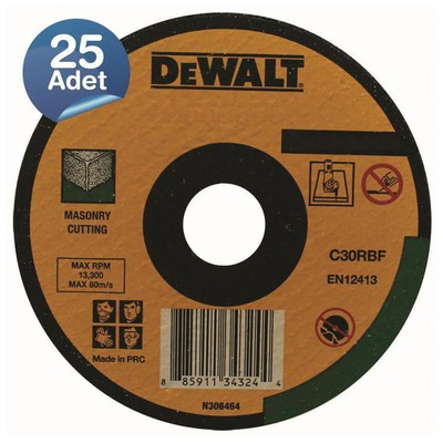 Dewalt Dwa4525cfa 25 Adet 230x2,5mm Metal Taşlama Diski Bombeli Makine Aksesuarı
