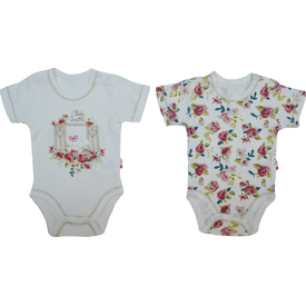 Baby Center S84174 Kız Bebek Cam Güzeli 2 Li Body Kısa Kol Pudra 3-6 Ay (62-68 Cm) Kız Bebek Body