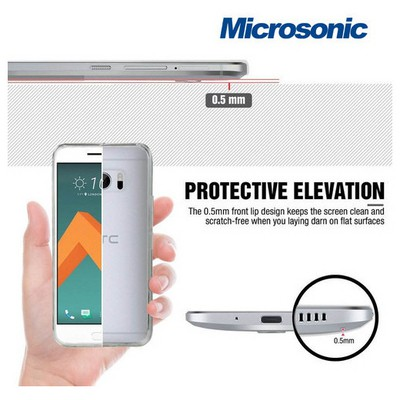 Microsonic Htc 10 Kılıf Transparent Soft Mavi Cep Telefonu Kılıfı