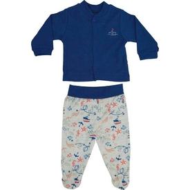 Bebetto 837 Erkek Bebek Penye Mini Pijama Takımı Lacivert 0-3 Ay (56-62 Cm) Erkek Bebek Pijaması