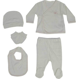 Baby Center 91073 Balıklı 5'li Bebek Zıbın Takımı Ekru-pembe Kız Bebek Body
