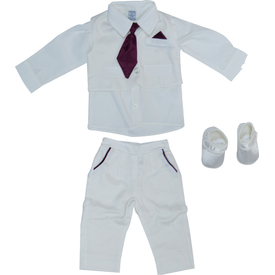 Pugi Baby 2014 Kravatlı Erkek Bebek Mevlüt Takımı Bordo 0-3 Ay (56-62 Cm) Erkek Bebek Hastane Çıkışı