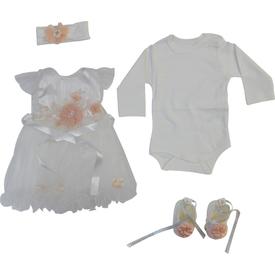 Pugi Baby 1057 Fransız Gübürlü Kız Bebek Mevlüt Takımı Krem 3-6 Ay (62-68 Cm) Kız Bebek Hastane Çıkışı
