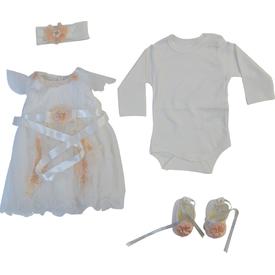 Pugi Baby 1056 Fransız Gübürlü Kız Bebek Mevlüt Takımı Krem 3-6 Ay (62-68 Cm) Kız Bebek Hastane Çıkışı