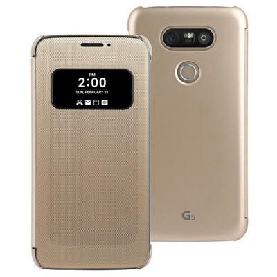 Microsonic Lg G5 Kılıf View Delux Kapaklı Akıllı Gold Cep Telefonu Kılıfı