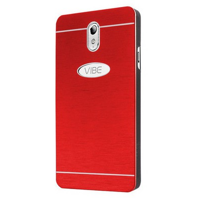 Microsonic Lenovo Vibe P1m Kılıf Hybrid Metal Kırmızı Cep Telefonu Kılıfı