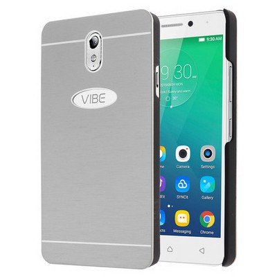 Microsonic Lenovo Vibe P1m Kılıf Hybrid Metal Gümüş Cep Telefonu Kılıfı