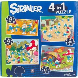 """Şirinler 4""""lü Puzzle"""