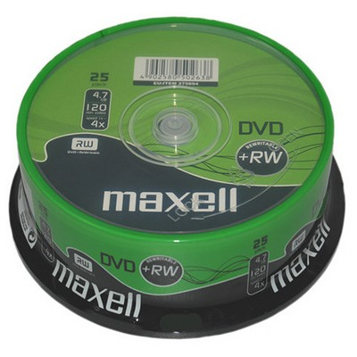 Maxell Dvd+rw 4.7gb 4x 25li Cakebox - 275894.35.tw CD/DVD