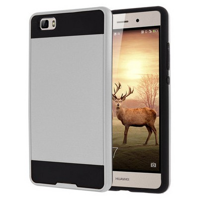 Microsonic Huawei P8 Lite Kılıf Slim Fit Dual Layer Armor Gümüş Cep Telefonu Kılıfı