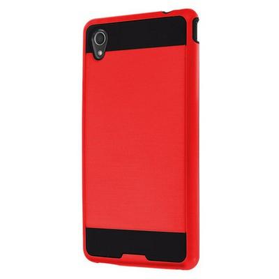 Microsonic Sony Xperia M4 Aqua Kılıf Slim Fit Dual Layer Armor Kırmızı Cep Telefonu Kılıfı