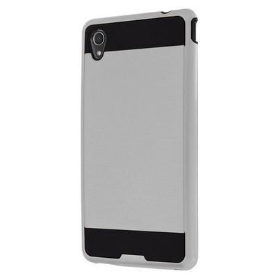 Microsonic Sony Xperia M4 Aqua Kılıf Slim Fit Dual Layer Armor Gümüş Cep Telefonu Kılıfı