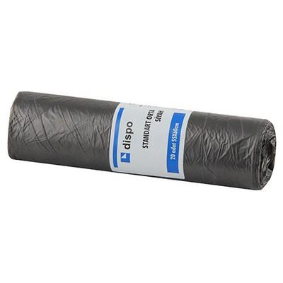 Dispo Standart Orta Siyah Çöp Torbasi 20 Adet 55x60 Cm Çöp Torbaları