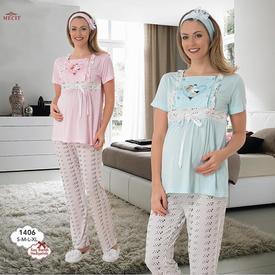 Mecit Kalp Desen Kısa Kol Lohusa Pijama Pembe M Gecelik & Pijama