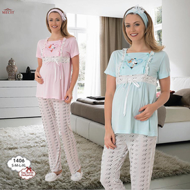 Mecit Kalp Desen Kısa Kol Lohusa Pijama Pembe Xl Gecelik & Pijama