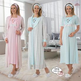 Mecit Lohusa Gecelik Sabahlık Takım Pembe L Gecelik & Pijama