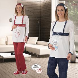 Mecit Lohusa 2'li Pijama Takım Lacivert L Gecelik & Pijama