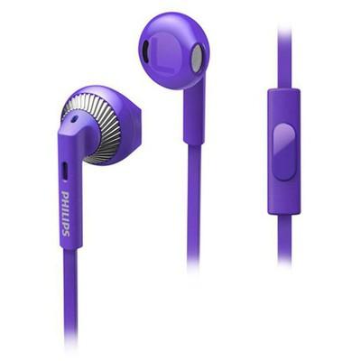 Philips She3205bk/00 Kulakiçi Mor Mikrofonlu Cep Telefonu Kulaklığı Kulak İçi Kulaklık