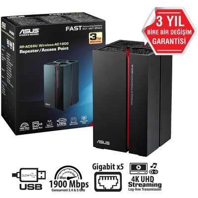 Asus Rp-ac68u, Ac1900 (1300mbps + 600mbps), Dual Band, Kablosuz Acess Point / Repeate
