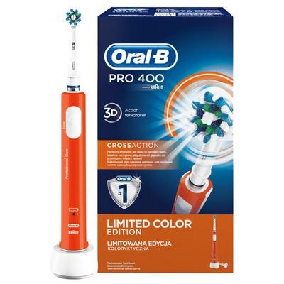 Oral-B Pro 400 Şarj Edilebilir Diş Fırçası Cross Action Turuncu (Özel Renk Serisi) Şarjlı Diş Fırçası