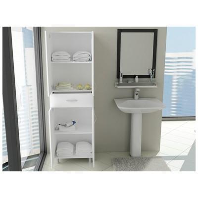 Bestline Zambak 4 Kapaklı Tek Çekmeceli Banyo Boy Dolabı - Beyaz Banyo Aksesuarı