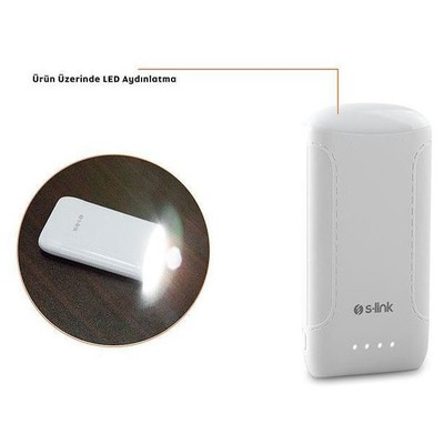 S-Link IP-844 8000 mAh Powerbank - Beyaz