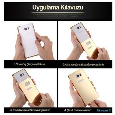 Microsonic Htc M8 Kılıf Luxury Mirror Gümüş Cep Telefonu Kılıfı