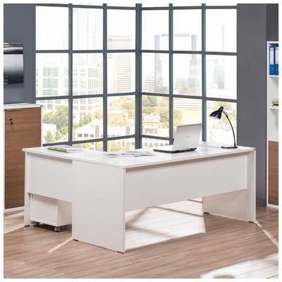 Adore Newyork L Ofis Masa Lake Beyaz 180x76x150 Cm Çalışma Masası